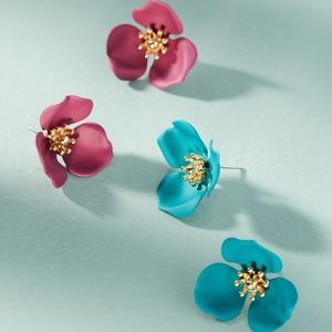 Dogwood Floral Post Earring Set Turquoise Pink